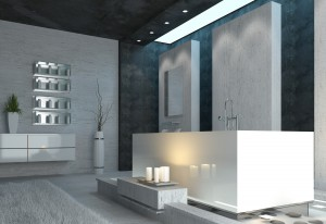 Luxury bathroom interior with burning candles and elegant grey, black and white modern decor in a romantic home setting