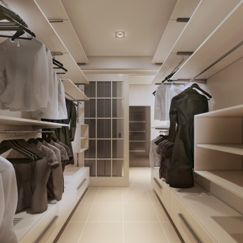 Luxury wardrobe in modern style. 3d render