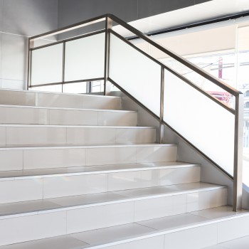 white stairs in modern business office