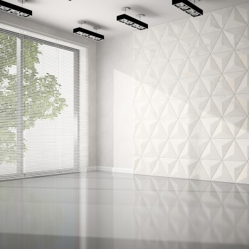 Empty room with white panel wall 3D rendering