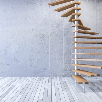 3ds rendered image of wooden spiral staircase hanged from ceiling by stainless cables, cracked concrete wall and old wooden floor